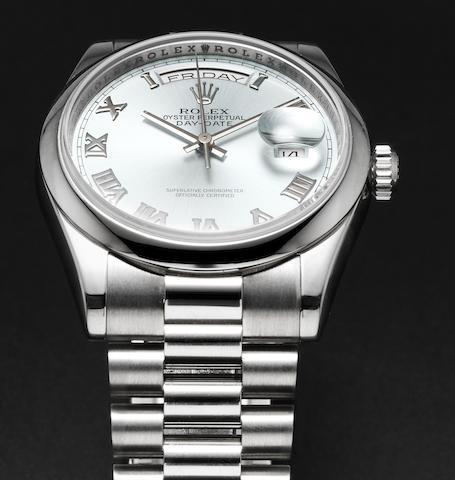 Rolex. A very fine platinum automatic calendar bracelet watchDay-Date, Ref:118206, Case No.Z127883, Sold by Wempe 3rd October 2007