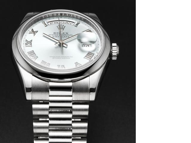 Rolex. A very fine platinum automatic calendar bracelet watch Day-Date, Ref:118206, Case No.Z127883, Sold by Wempe 3rd October 2007