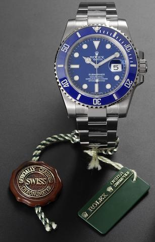 Rolex. An 18ct white gold automatic calendar bracelet watch together with fitted box and papers Submariner, Ref:116619LB, Case No.V336713, Sold by Wempe 2nd January 2009