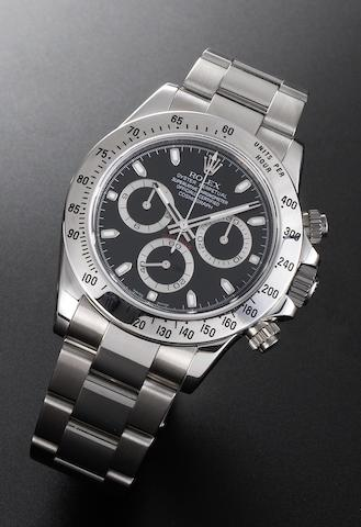 Rolex. A fine stainless steel automatic chronograph bracelet watch Cosmograph Daytona, Ref:116520, Case No. Z758787, Sold 7th October 2007