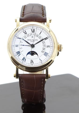 Patek Philippe. A fine and rare 18ct gold perpetual calendar wristwatch with phases of moon Ref:5059, Case No.4047916, Movement No.19578735, Circa 1999