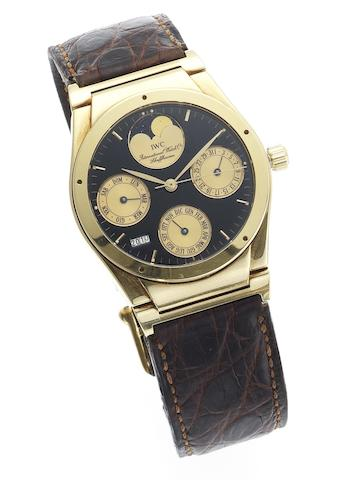 IWC. A fine 18ct gold automatic perpetual calendar wristwatch with year indicator and moonphasesIngenieur Perpetual, Case No.2477474, Sold 23rd March 1993