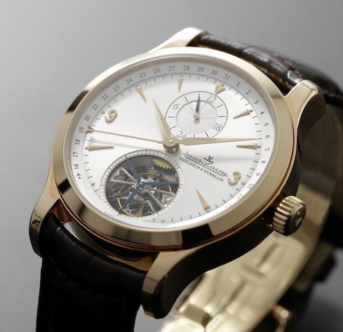 Jaeger LeCoultre. A fine 18ct rose gold tourbillon wristwatch with calendarMaster Tourbillon, Ref:165.24.20, Movement No.2397729, Sold 2nd April 2008