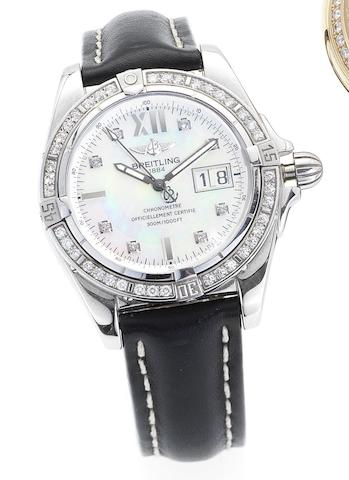 Breitling. A fine stainless steel automatic diamond set calendar wristwatchGalactic Chronometer, A49350, Recent