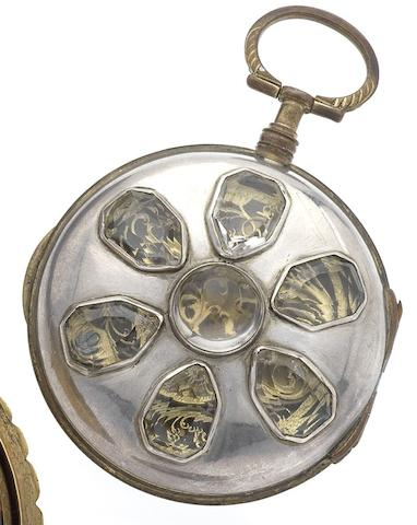 Swiss. A late 18th century gilt metal open face decorative pocket watch Circa 1795