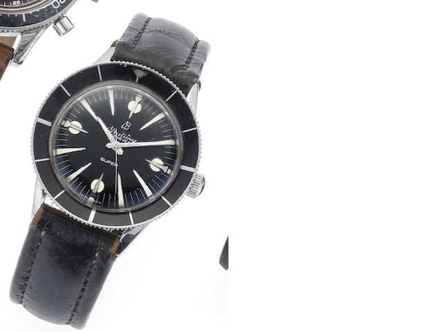 Breitling. A rare stainless steel automatic wristwatch SuperOcean, Circa 1960