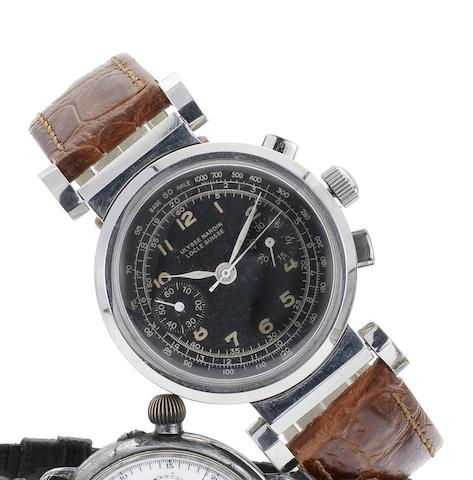 Ulysse Nardin. A stainless steel manual wind chronograph wristwatch in a later hinged caseCirca 1930's