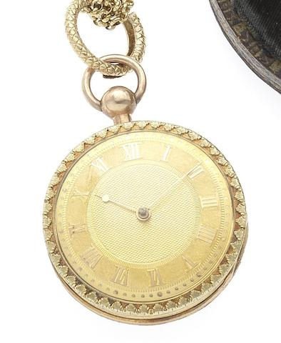Thomas Wirgman. A fine early 19th century 18ct gold key wound full hunter pocket watch together with gold chain and 6 fobsCirca 1825