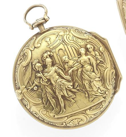 Thomas and John Barton. An 18th century repoussé pair case pocket watchLondon Hallmark for 1767