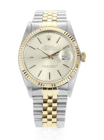 Rolex. A stainless steel and gold automatic centre seconds calendar bracelet watchDatejust, Ref:16013, Case No.9003665, Sold 7th April 1986