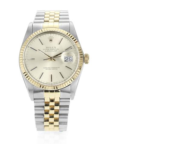 Rolex. A stainless steel and gold automatic centre seconds calendar bracelet watch Datejust, Ref:16013, Case No.9003665, Sold 7th April 1986