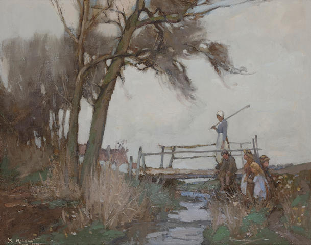 William Watt Milne (British, 1865-1949) Fishing from the old bridge