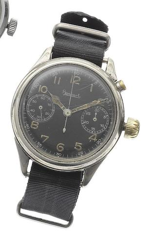 Hanhart. A stainless steel single button chronograph wristwatchCirca 1940