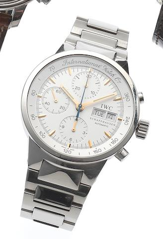 IWC. A stainless steel automatic calendar bracelet watch Portuguese, Ref: 3707, Case No.2878400, Movement No. 3835014, Circa 1990