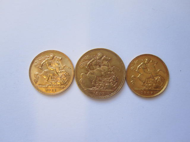 A sovereign and two half sovereigns