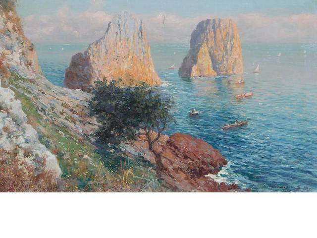 Bernardo Hay (British, born 1864) View of the Faraglioni, Capri