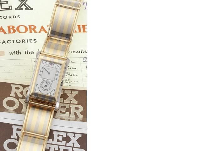 Rolex. A fine and rare two colour gold jump-hour bracelet watch Prince, 'Tiger Stripe,' Movement No.80047, Case No.1491HS, Circa 1930