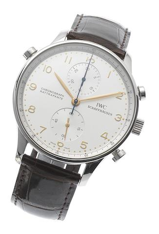 IWC. A fine stainless steel manual wind chronograph wristwatchChronograph Rattrapante, Case No.2734387, Recent