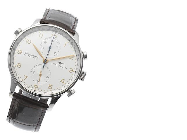 IWC. A fine stainless steel manual wind chronograph wristwatch Chronograph Rattrapante, Case No.2734387, Recent