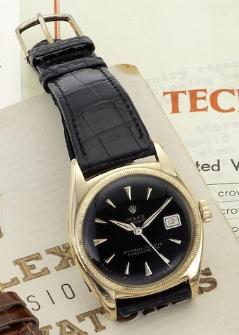 Rolex. A fine 18ct gold automatic centre seconds calendar wristwatch Ref:6105, Case No.769874, Circa 1962
