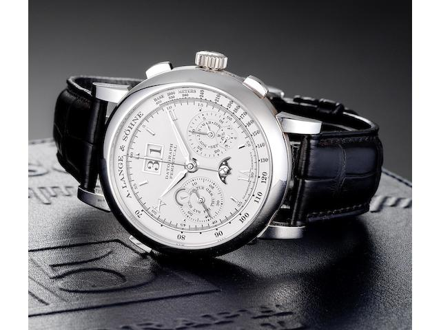 A.Lange & Söhne. A very fine and rare platinum perpetual calendar chronograph wristwatch with moonphases, presentation box, Guarantee Booklet and Instructions Datograph Perpetual, Ref:410.025E, Case No.158114, Movement No.410.025E, Sold 24th February 2007