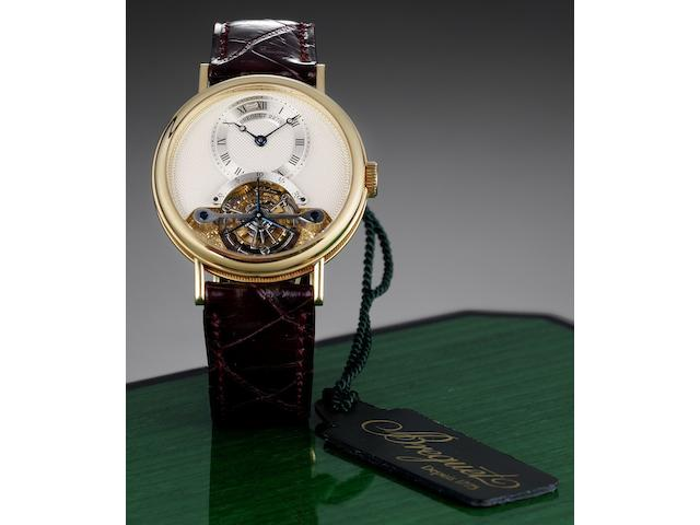 Breguet. A very fine 18ct gold tourbillon wristwatch together with presentation box and papersRef:3350, No.2278, Recent