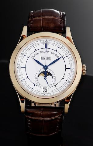 Patek Philippe. A very fine 18ct rose gold automatic annual calendar centre seconds wristwatch with moonphase together with fitted Patek Philippe presentation box and Certificate of OriginRef:5396R, Case No.4408025, Movement No.3637571, Sold 24th February 2007