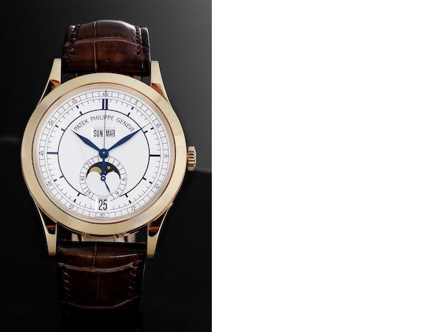 Patek Philippe. A very fine 18ct rose gold automatic annual calendar centre seconds wristwatch with moonphase together with fitted Patek Philippe presentation box and Certificate of Origin Ref:5396R, Case No.4408025, Movement No.3637571, Sold 24th February 2007