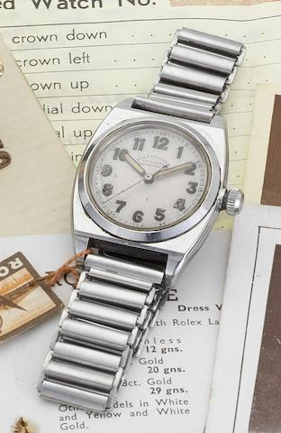 Rolex. A stainless steel centre seconds bracelet watch together with original Certificate, letters, newspaper cuttings and swing tagOyster Chronometer,'Viceroy', Ref:3116, Case No.140285, Circa 1938