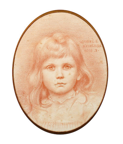 Attributed to Charles Fairfax Murray (British, 1849-1919) A portrait study of a young girl, Muriel E. Heseltine, aged 3
