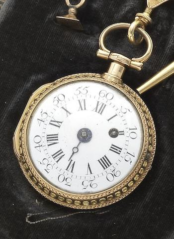 Eude. A fine late 18th century two-colour gold and enamel open face dumb repeating pocket watch together with two-colour gold chatelaine and fitted boxCirca 1787