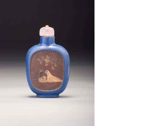 An Yixing stoneware 'Pekinese dogs and doves' snuff bottle Probably Imperial, Yixing, 1821–1850