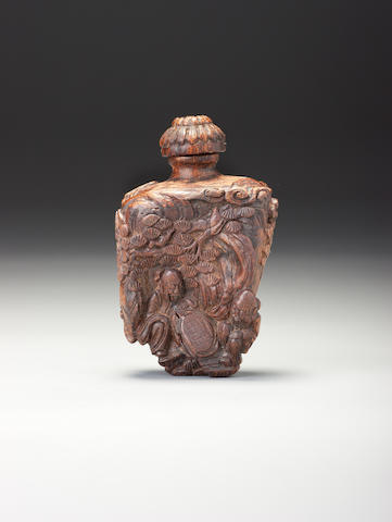A carved 'chenxiangmu' 'landscape' snuff bottle 1760–1860