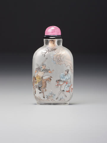 An inside-painted glass 'Cao Cao' snuff bottle Ma Shaoxuan family, dated 1914
