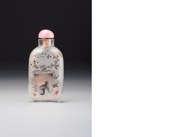An inside-painted glass 'auspicious objects' snuff bottle Yan Yutian, dated 1895