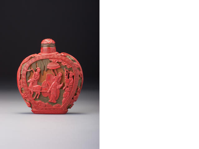 A carved cinnabar lacquer 'figures' snuff bottle School of the Imperial Master, Japan, 1854–1910
