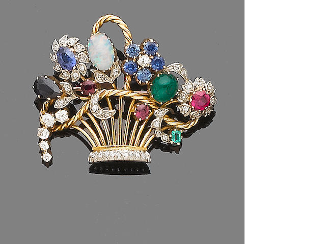 A gem and diamond-set giardinetto brooch,