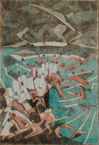 Claude Flight (British, 1881-1955) Boys Bathing Linocut in colours, on tissue thin japan, signed and numbered 4/50 in pencil lower right, 280 x 195mm (11 x 7 5/8in)(I)