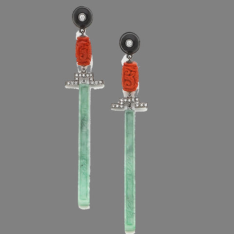 A pair of gem and diamond-set pendent earrings