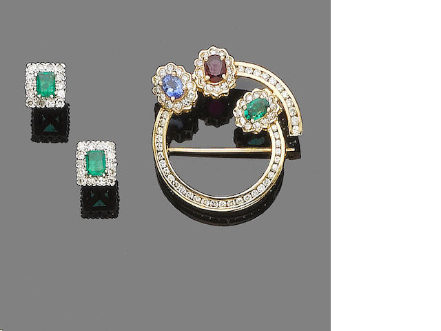 A gem and diamond-set brooch and pair of earrings (2)