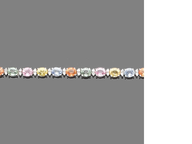 A multi-coloured sapphire and diamond bracelet
