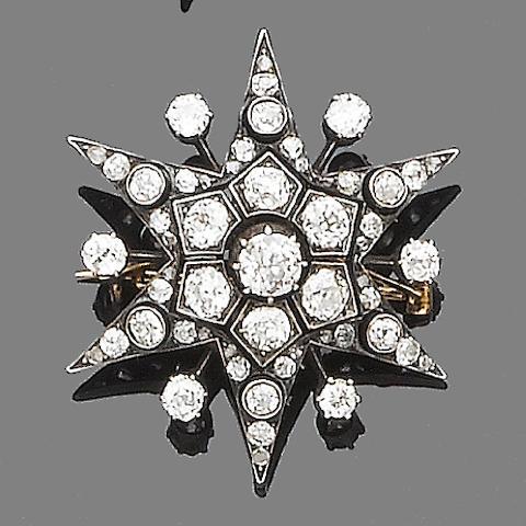 A late 19th century diamond star brooch/pendant