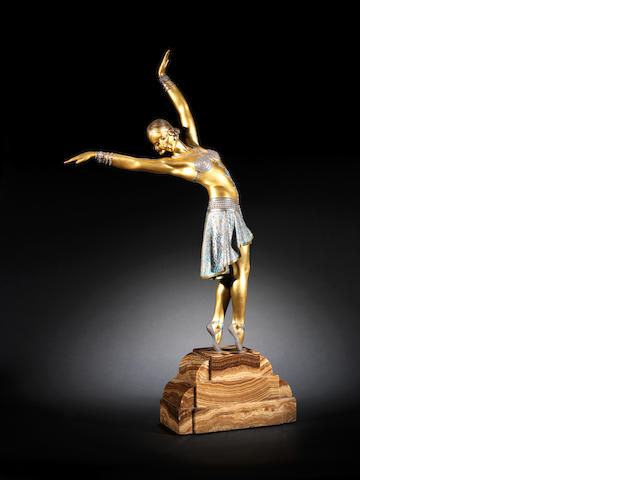 Demetre Chiparus 'Vedette' a Large Gilt and Cold-painted Bronze Figure, circa 1925