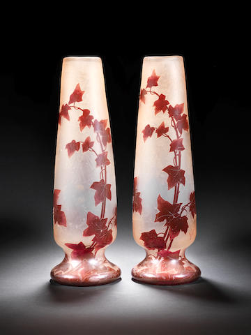 Legras A Pair of Acid-Etched and Enamelled Vases, circa 1920