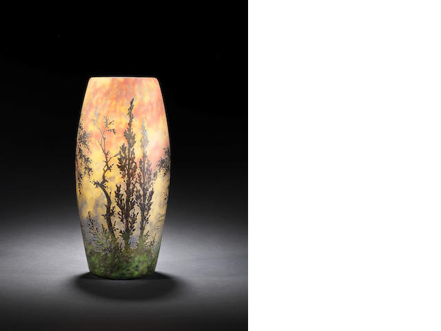 Daum a Cameo Glass Vase with Trees, circa 1920