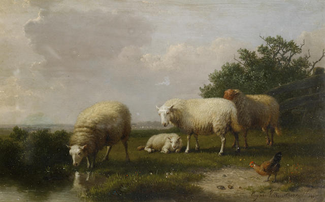 Eugène Verboeckhoven (Belgian, 1798-1881) Sheep grazing on a riverbank