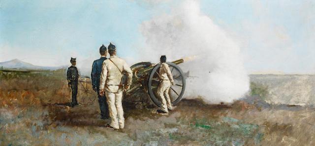 Michele Cammarano (Italian, 1835-1920) Manovre militari di fronte al Vesuvio