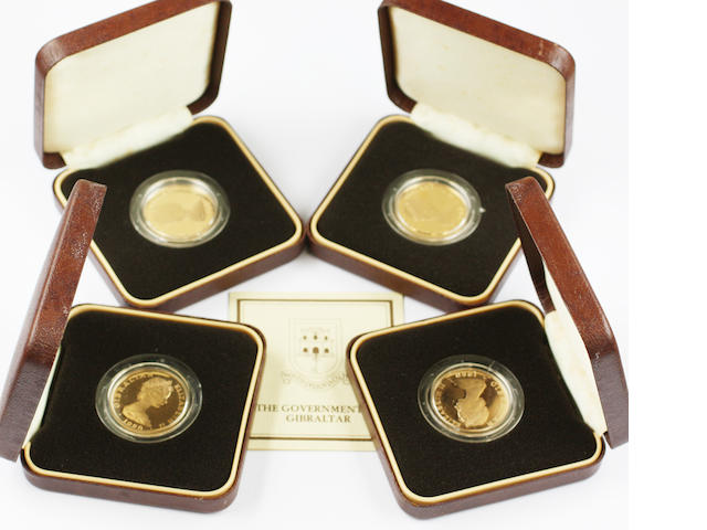 Gibraltar, Elizabeth II: Four commemorative fifty pound coins for 175th anniversary of the death of Nelson.