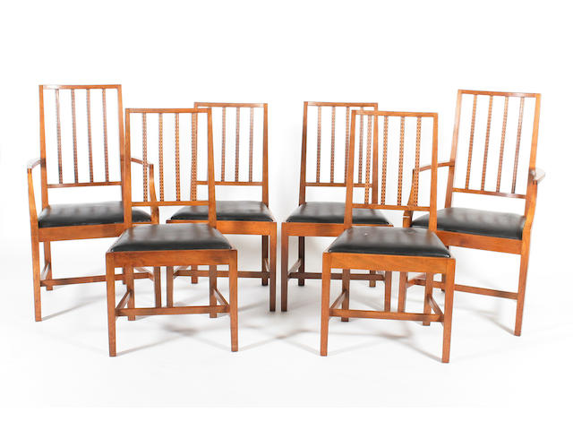 A good set of six walnut dining chairs, attributed to Peter Waals after a design by Ernest Gimson, circa 1925