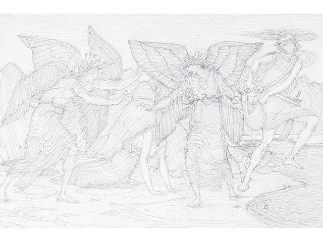 Sir Edward Coley Burne-Jones, Bt., ARA (British, 1833-1898) Study for the Escape of Perseus bearing the head of Medusa
